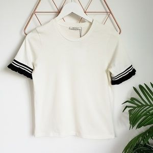 Zara, NWT, Ivory Knit Top Black Ruffle Sleeves, S